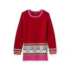 Lands' End - Girls' red tunic-length snowman jumper