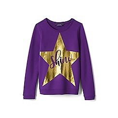 Lands' End - Girls' purple embellished sweatshirt