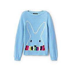 Lands' End - Girls' blue boatneck cotton blend bunny jumper