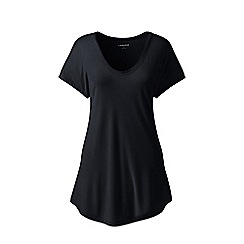 Lands' End - Black short sleeves bamboo jersey scoop neck t-shirt