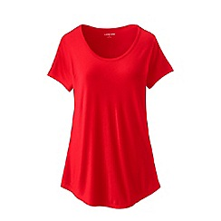 Lands' End - Red Plus Size Short Sleeve Jersey Scoop Neck T-Shirt