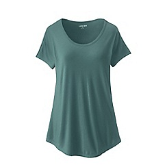 Lands' End - Green Plus Size Short Sleeve Jersey Scoop Neck T-Shirt