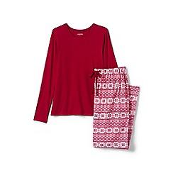 Lands' End - Red womens patterned flannel pyjama gift set