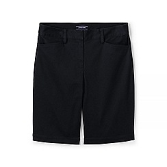 Lands' End - Black womes mid rise bermuda chino shorts