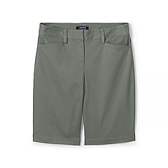 Lands' End - Green Womes Mid Rise Bermuda Chino Shorts