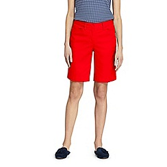 Lands' End - Red Womes Mid Rise Bermuda Chino Shorts