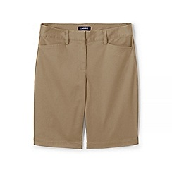 Lands' End - Beige Womes Mid Rise Bermuda Chino Shorts