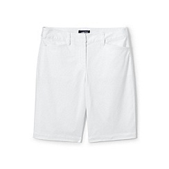 Lands' End - White womes mid rise bermuda chino shorts