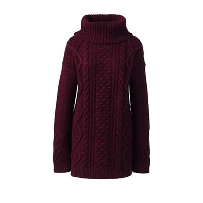 Womens Petite Donegal Fancy Cable Roll Neck - 10 -12 - RED Lands End