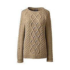 Lands' End - Beige long sleeve aran boatneck jumper