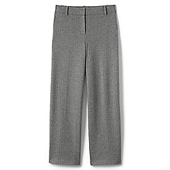 Lands' End - Grey womens herringbone jacquard wide leg trousers