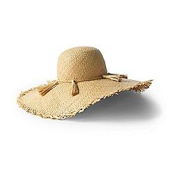 Lands' End - Beige straw frayed edge sun hat