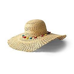 Lands' End - Grey multi-coloured tasselled straw sun hat