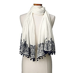 Lands' End - Cream scarf with embroidery and pom poms