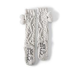 Lands' End - Cream hand-knit popcorn slipper socks