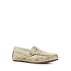 Lands' End - Gold brocade moccasin slippers