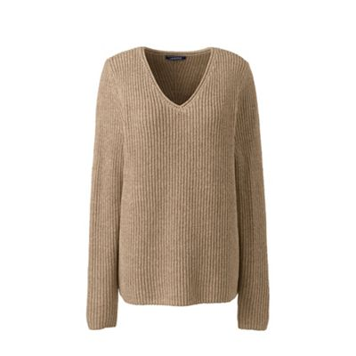 Lands' End   Beige Petite Shaker Long Sleeve V Neck Jumper by Lands' End
