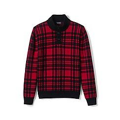 Lands' End - Red wool blend tartan button polo neck jumper