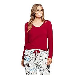 Lands' End - Red petite long sleeve jersey pyjama top