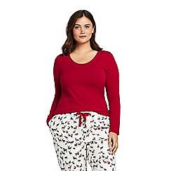 Lands' End - Red plus long sleeve jersey pyjama top