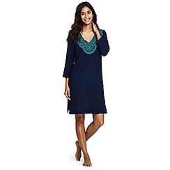Lands' End - Blue embroidered cotton beach dress