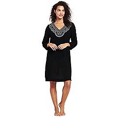 Lands' End - Black embroidered cotton beach dress