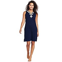 Lands' End - Blue sleeveless embroidered cotton cover-up dress