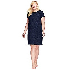Lands' End - Blue plus textured towelling cover-up dress
