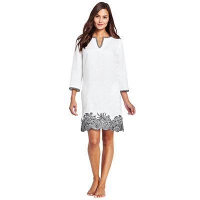 Lands' End   White Linen Embroidered Scallop Hem Beach Dress by Lands' End