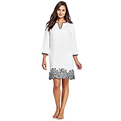 Lands' End - White linen embroidered scallop hem cover-up dress