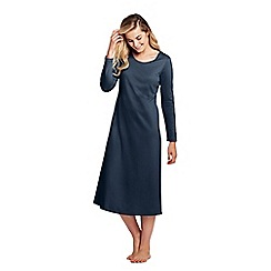 Lands' End - Blue supima long sleeve calf-length nightdress