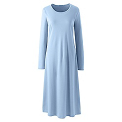 Lands' End - Blue womens petite supima long sleeve calf-length nightdress