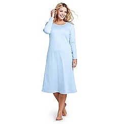 Lands' End - Blue womens plus supima long sleeve calf-length nightdress