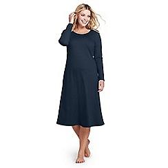 Lands' End - Blue plus supima long sleeves calf-length nightdress