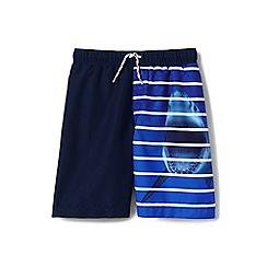 Lands' End - Boys' blue shark stripe swim shorts