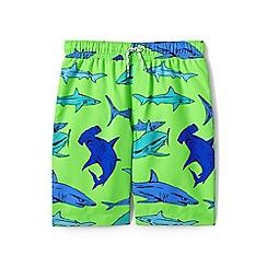 Lands' End - Boys' Green  printed swim shorts