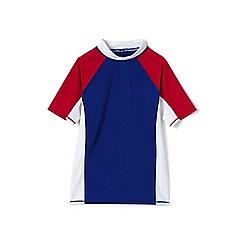 Lands' End - Boys' Blue  colourblock rash vest