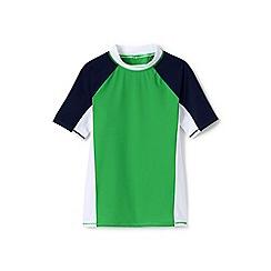 Lands' End - Boys' Green  colourblock rash vest