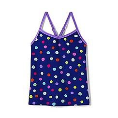 Lands' End - Girls' blue toddler  smart swim pattern tankini top