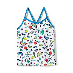 Lands' End - Girls' multicoloured  smart swim pattern tankini top
