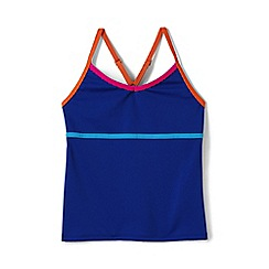 Lands' End - Girls' blue  smart swim pattern tankini top
