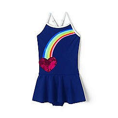 Lands' End - Blue toddler girls' graphic skirted one-piece swimsuit