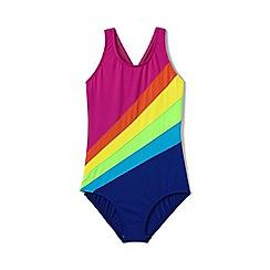 Lands' End - Girls' pink  smart swim rainbow swimsuit
