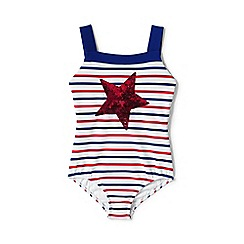 Lands' End - Red girls' sequin star Americana swimsuit