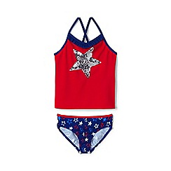 Lands' End - Red girls' americana graphic tankini set