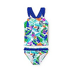 Lands' End - Girls' multicoloured  sun ruffle trim tankini set