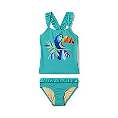 Lands' End - Girls' blue  sun graphic ruffle trim tankini set