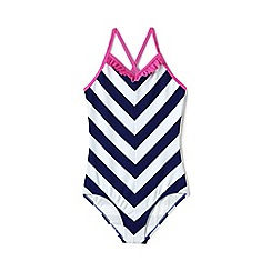 Lands' End - Blue girls' striped ruffle swimsuit