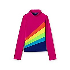 Lands' End - Girls' pink  long sleeve colour block rash vest