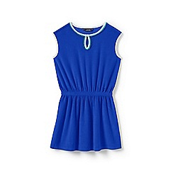 Lands' End - Girls' blue  sleeveless terry cover-up